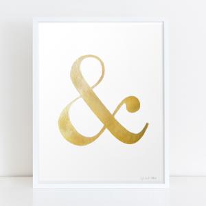 ampersand metallic gold print