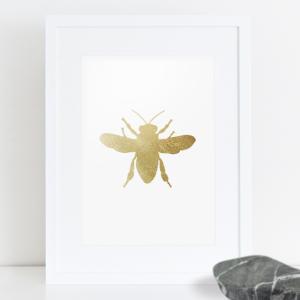 Gold Leaf Honeybee Print