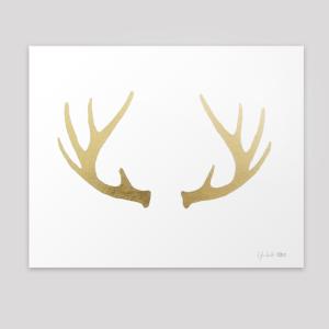gold leaf deer antlers gilded print