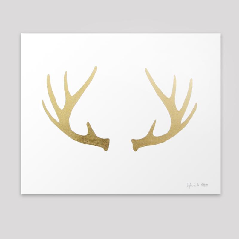 luna arts minneapolis gold deer antlers print