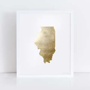 State of Illinois Gold Foil Print