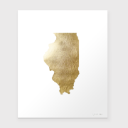 State of Illinois Gold Foil Print Unframed