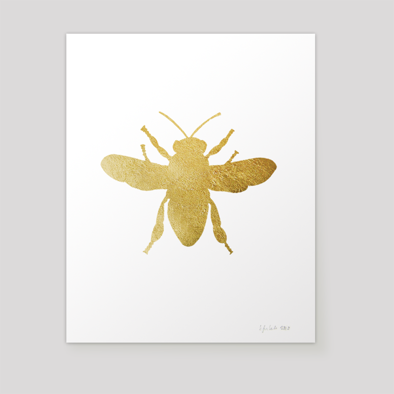 Top Luna Arts : Minneapolis | Gold Honey Bee Print RZ85